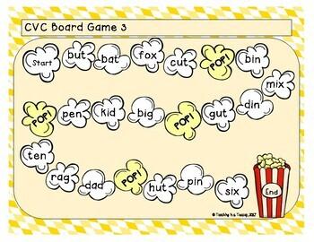 Popcorn CVC Word Board Games