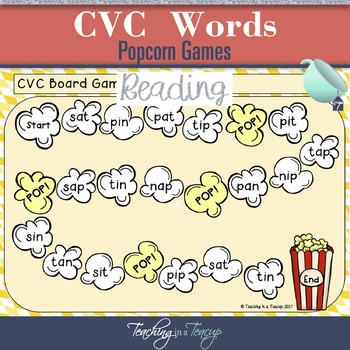 Popcorn CVC Word Board Games