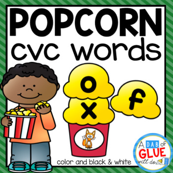 Popcorn CVC Word Building Activity