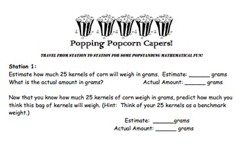 Popcorn Caper: Measurement and Weight Prediction