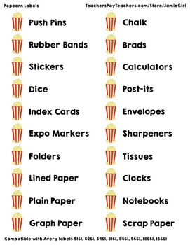 Popcorn Classroom Stationery Labels - Movie Themed