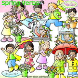 SPRING SALE! Spring Kids Clipart, Spring Verbs
