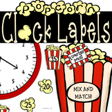 Popcorn Clock Labels: Perfect for Your Hollywood Movie Cla