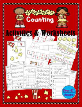 Popcorn Counting Activity Bundle - Numbers 1 to 10
