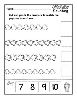 Popcorn Counting- Numbers 1 to 10 Cut and Paste