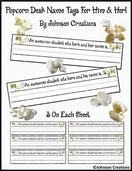 Popcorn Desk Name Tags