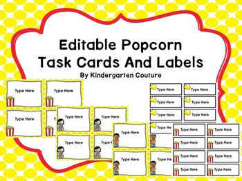 Popcorn - Editable Task Cards And Labels
