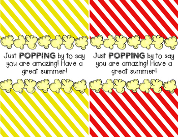 Popcorn End of the Year Thank You Notes!