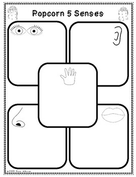 Popcorn Five Senses Activity Worksheet