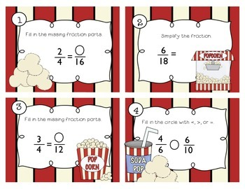 Popcorn Fractions Task Cards (Simplifying, Equivalent, & Comparing Fractions)