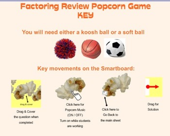 Popcorn Game - Factoring Review