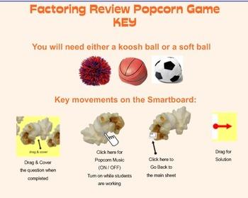 Popcorn Game - Factoring Review
