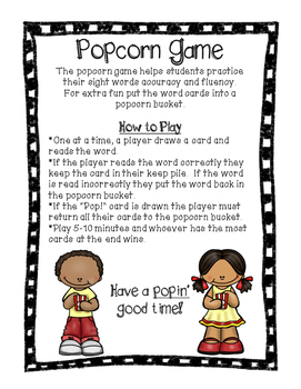 Popcorn Game- Journey's Unit 2 HFW