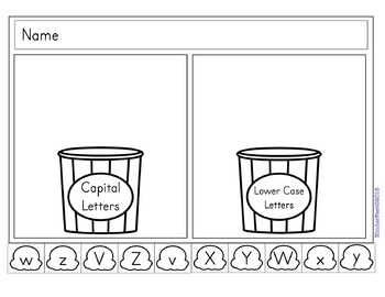 Popcorn Games - Literacy Centers for Letter ID, Beginning Sounds, & Sight Words