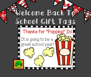 Popcorn Gift Open House Tags for Welcome Back to School Events