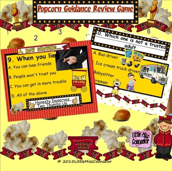 Popcorn Classroom Counseling Review Game: Koosh Ball SMARTboard lesson