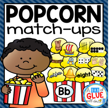 Popcorn Initial Sound and Number Match-Ups Bundle