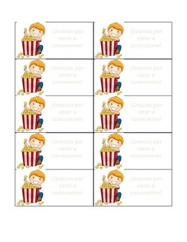 Popcorn Label Editable (Spanish)