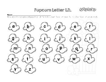 Popcorn Letter Identification Center Activity