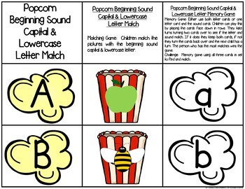 Popcorn Letter & Sound Match Game