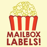 Numbered Labels - Movie Theater Popcorn Theme - Mailbox, Cubby, Hook, Table