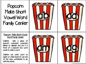 Popcorn Make a Word Phonics Center