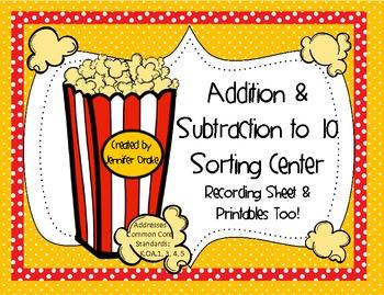 Popcorn Math! ~Addition & Subtraction Sorting Center 0-10~