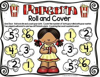 Popcorn Math Center Dice Games