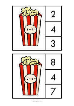 Popcorn Math Subtraction Clip Cards