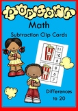 Popcorn Math Subtraction Clip Cards