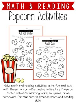 Popcorn Math and Reading Activities