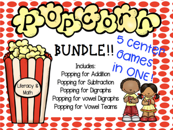 Popcorn Math and Literacy Centers BUNDLE