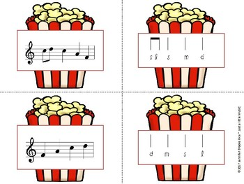 Popcorn Melody Matching--A printable stick to staff notation game {do}