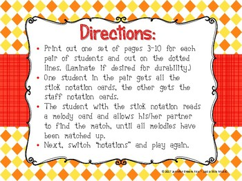 Popcorn Melody Matching--A printable stick to staff notation game {re}