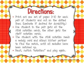 Popcorn Melody Matching--A printable stick to staff notation game {sol mi}