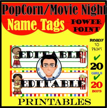 Popcorn / Movie Night Name Tags (Editable Names)