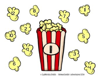 Popcorn Multiplication Roll & Cover Game - math center for basic facts to 12's