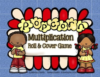 Popcorn Multiplication Roll & Cover Game - math center for