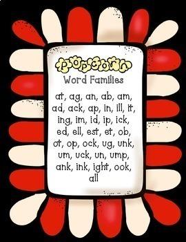 Popcorn NO PREP Word Work Printables:  Cut/Paste Word Family Edition