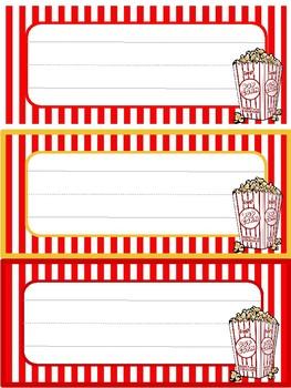 Popcorn Movie Name Tags
