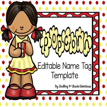 Popcorn Name Tags- Editable