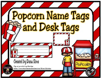 Popcorn Name Tags and Desk Tags