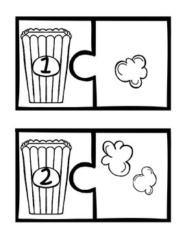 Popcorn Number Puzzles (1-10) - Black and White Version Only
