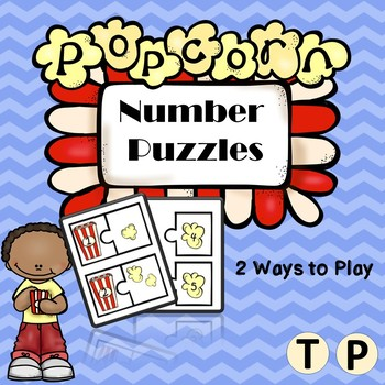 Popcorn Number Puzzles (1-10) - Color and Black and White Combo Version