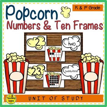 Popcorn Numbers 0-25, Ten Frames & Number Words Match