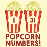 Table or Door Numbers - 1 to 36 - Movie Theater Popcorn Theme