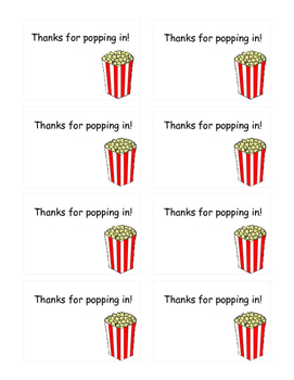 Popcorn Open House Labels