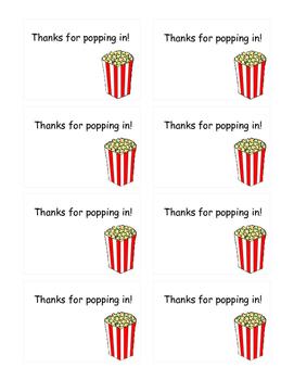 Popcorn Open House Labels
