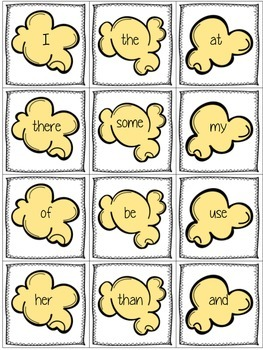 Popcorn Party Sight Word Game - 1st 100 FRY