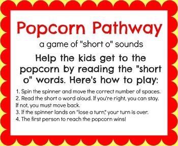 Popcorn Pathway- Short O CVC Word Practice Board Game